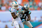 Miami Dolphins wide receiver Mike Wallace (11) catches a pass as he is defended by Carolina Panthers cornerback Captain Munnerlyn (41) during an NFL game at SunLife Stadium on Nov. 24, 2013 in Miami Gardens, Florida. <br /> <br /> ©2013 Scott A. Miller
