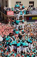 Castellers de Vilafranca.'Castellers' building human towers, a Catalan tradition. Vilafranca del Penedès. Barcelona province, Spain