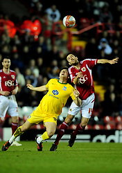 Bristol City's Cole Skuse battles for the high ball with Crystal Palace's Chris Martin - Joe Meredith/JMP - 14/02/12 - SPORT - FOOTBALL -  Championship -  Ashton Gate - Bristol, England - Bristol City v Crystal Palace