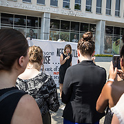 WASHINGTON,DC-JUL13:  Congresswoman Jackie Speier, CA, speaks at a rally for survivors of sexual assault and their allies, outside the Department of Education, ahead of a series of meetings that Secretary Betsy DeVos is holding with survivors, advocates for the wrongly accused and college administrators. DeVos is considering whether to rollback Obama-era guidance on handling sexual assault, which victims' advocates credit with improving the situation on college campuses, and which others say has led schools to err on the side of finding students guilty of assault even when they are innocent. (Photo by Evelyn Hockstein/For The Washington Post)
