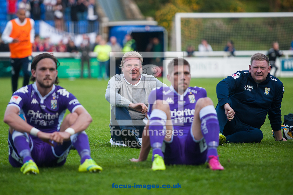 IFK G&ouml;teborg manager J&ouml;rgen Lennartsson (centre) celebrates with players following the UEFA Europa League Qualifying First Round match at the Bangor University Stadium, Bangor<br /> Picture by Matt Wilkinson/Focus Images Ltd 07814 960751<br /> 07/07/2016