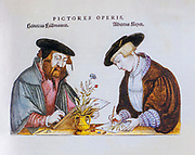 16th century Illustrators at work sketching a flower for Leonhart Fuchs books of herbs De Historia Stirpium Commentarii Insignes Published in Basel in 1542 Heinrich Füllmauer and Albrecht Meyer