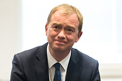 © Licensed to London News Pictures. 01/06/2017. London, UK. Leader of the Liberal Democrats TIM FARRON speaks with staff at Kingston Hospital, joined by former leader Nick Clegg and Sara Olney MP. Photo credit: Rob Pinney/LNP