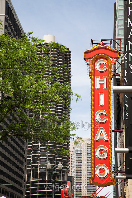 Chicago Theater sign marquee. The Chicago Theater is a Chicago Landmark and is listed with the National Register of Historic Places. Pictures, photos, prints.