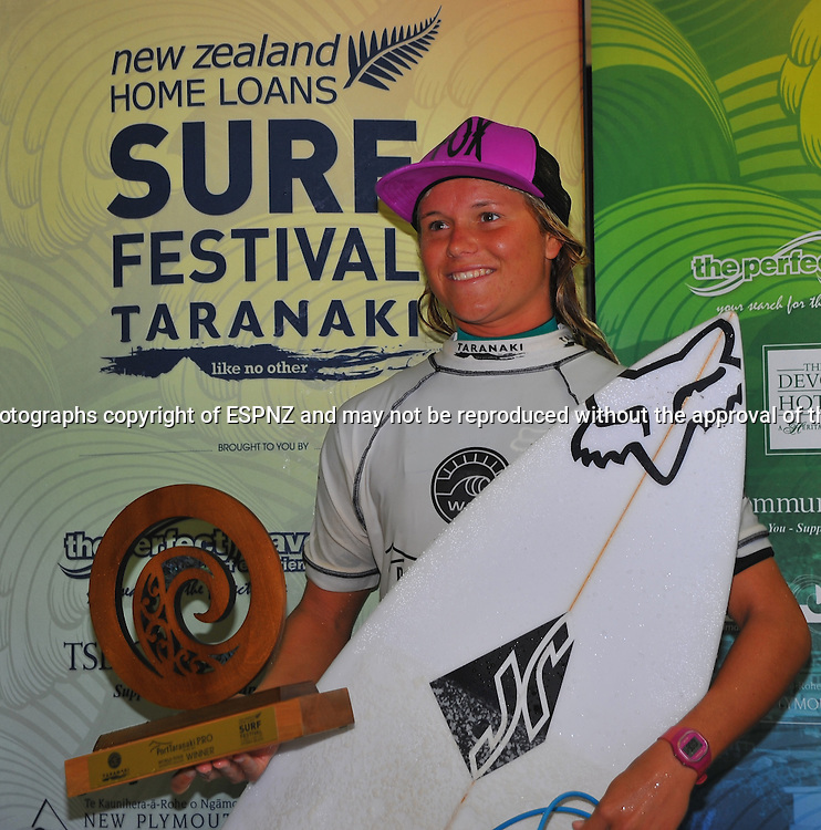 PORT TARANAKI PRO &ntilde; WSL WOMEN&iacute;S 6 star Qualifying series Featuring the worlds highest ranked surfers including many of the World Tours top 17.<br /> This is stop number three of the 2015 WSL Women's 6-Star Qualifying Series competitions where the best in the world battle it out, gaining points towards securing one of six coveted spaces on the WSL World Championship Tour for the following year.<br />  <br /> Photo John Velvin/ESPNZ<br />  www.elitesportsphotographynz.com