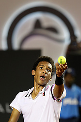 RIO DE JANEIRO, Feb. 24, 2019  Felix Auger-Aliassime of Canada serves during the men's singles semifinal between Felix Auger-Aliassime of Canada and Pablo Cuevas of Uruguay at the Rio open 2019 tournament in Rio de Janeiro, Brazil, on Feb. 23, 2019. (Credit Image: © Xinhua via ZUMA Wire)