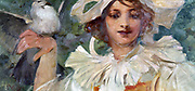 Head a shoulders of young woman with Pierrot collar, white bird perching on her hand. Painting by Alphonse Mucha (1860-1939) Czech Art Nouveau painter.