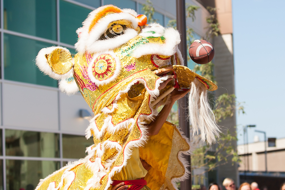 August 29, 2013: Linh Quang Lion/Dragon dancers at the Grand Opening of the Pinnacle Bank Arena in Lincoln, Nebraska.