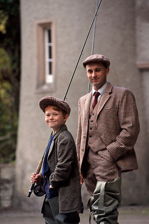 Gamekeeper and son at Ballindalloch Castle, Scotland.
