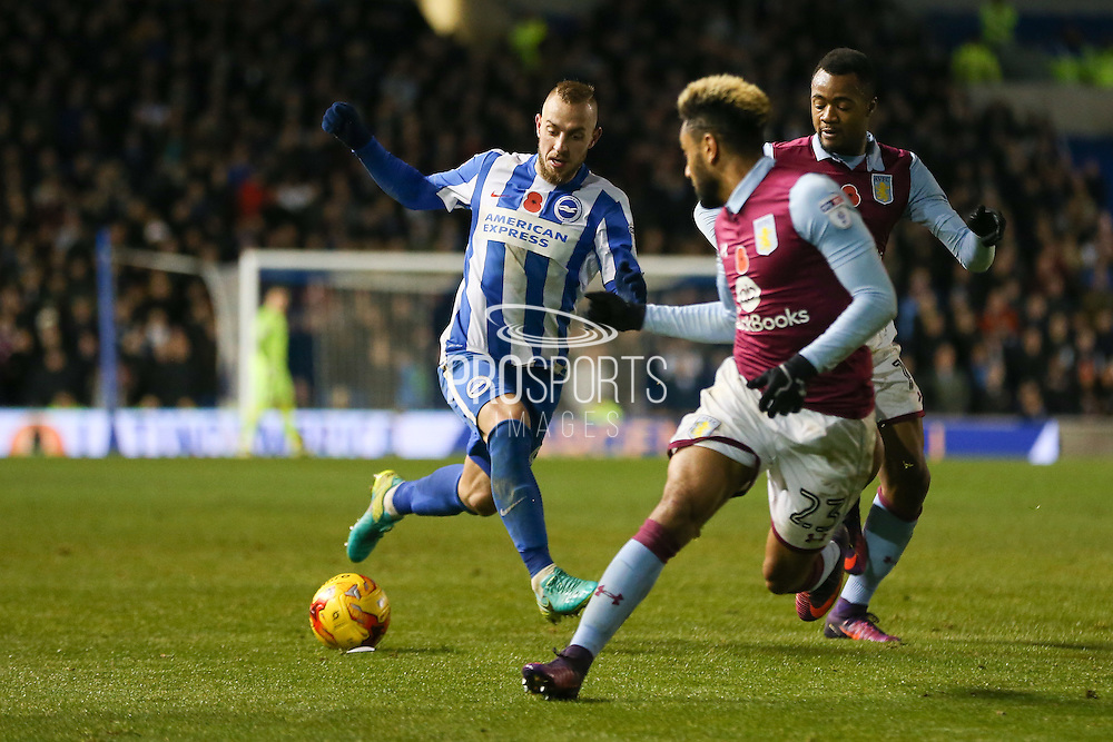 Brighton & Hove Albion midfielder Jiri Skalak (8) takes on Aston Villa defender Jordan Amavi (23) during the EFL Sky Bet Championship match between Brighton and Hove Albion and Aston Villa at the American Express Community Stadium, Brighton and Hove, England on 18 November 2016. Photo by Phil Duncan.
