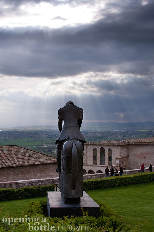 Statue of St. Francis in front of the Basilica di San Francesco church, Assisi, Umbria, Italy.