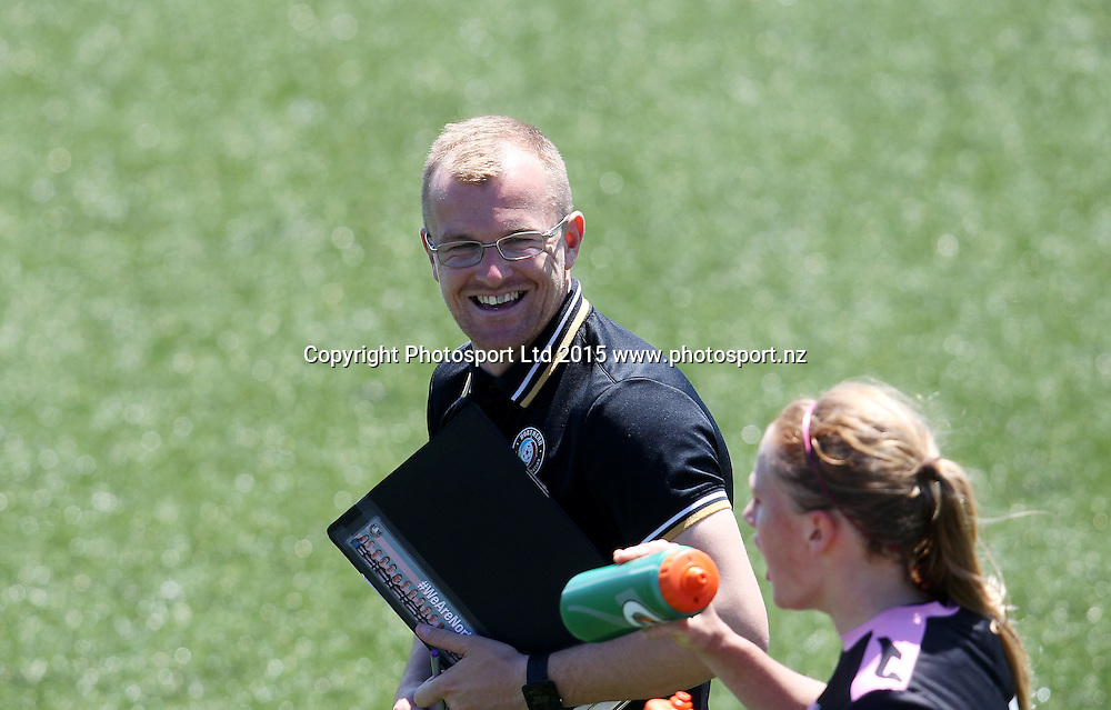 Northern coach Paul Greig. ASB Women's League, Auckland v Northern, William Green Domain Auckland, Sunday 8th November 2015. Copyright Photo: Shane Wenzlick