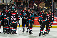 KELOWNA, CANADA - DECEMBER 5:  The Kelowna Rockets celebrate the shoot out win against the Tri-City Americans skate against the Tri-City Americans on December 5, 2018 at Prospera Place in Kelowna, British Columbia, Canada.  (Photo by Marissa Baecker/Shoot the Breeze)