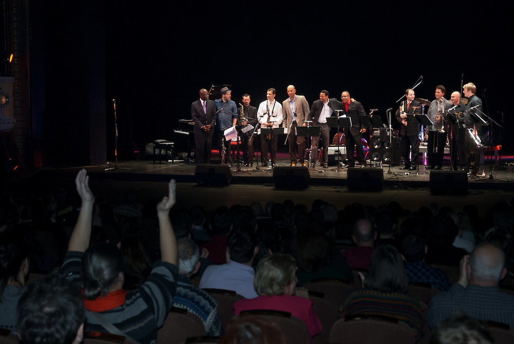 Lucian Ban and Sam Newsome performing with the The Romanian - American Jazz Orchestra
