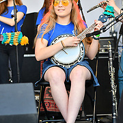 London Youth Folk Ensemble attend the Feast of St George to celebrate English culture with music and English food stalls in Trafalgar Square on 20 April 2019, London, UK.