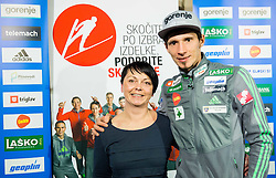 Tanja Prelovsek and Robert Kranjec after the press conference of Slovenian Ski jumping team after World Cup competitions in Vikersund, on February 16, 2016 in Maximarket, Ljubljana, Slovenia. Photo by Vid Ponikvar / Sportida