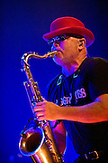 Lee Thompson of Madness, playing at the Hackney Empire in London on the launch of their new album 'Liberty of Norton Folgate'.