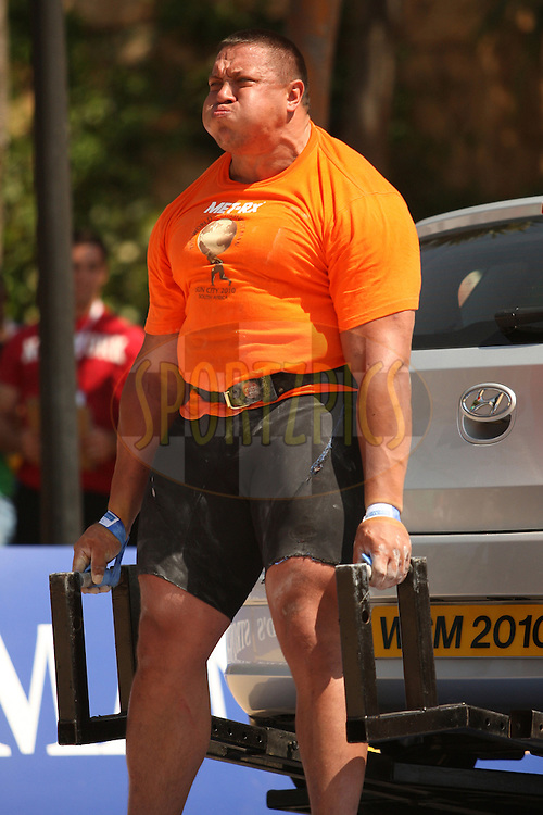 Mikhail Koklyaev (Russia) in action in the deadlift (for time) during one of the qualifying rounds of the World's Strongest Man competition held in Sun City, South Africa.