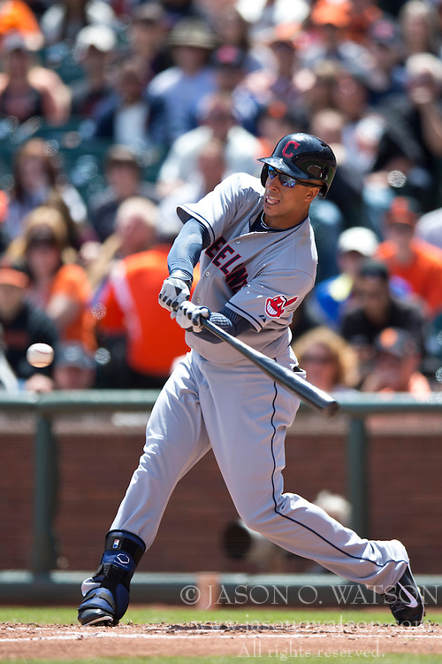 SAN FRANCISCO, CA - APRIL 26:  Michael Brantley #23 of the Cleveland Indians at bat against the San Francisco Giants during the third inning at AT&T Park on April 26, 2014 in San Francisco, California. The San Francisco Giants defeated the Cleveland Indians 5-3.  (Photo by Jason O. Watson/Getty Images) *** Local Caption *** Michael Brantley