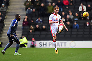 Milton Keynes Dons defender Dean Lewington (3) on defensive duties during the EFL Sky Bet League 1 match between Milton Keynes Dons and Charlton Athletic at stadium:mk, Milton Keynes, England on 17 February 2018. Picture by Dennis Goodwin.