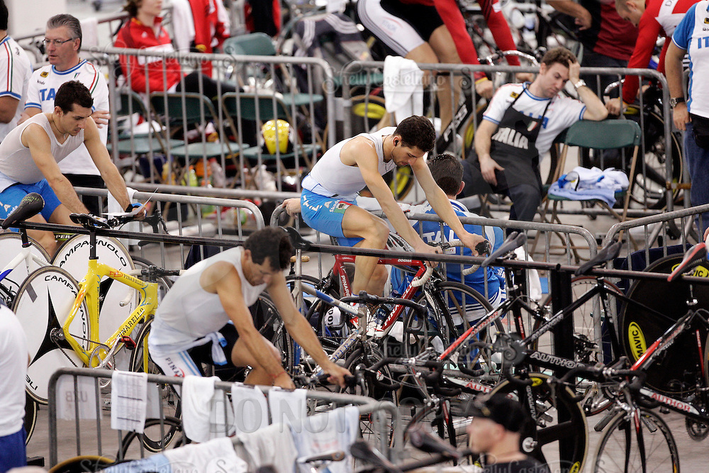 21 January 2007: Men's Italian (ITA) rider warms up on the bike inside the pits  at the UCI Track Cycling World Cup Classics @ the Home Depot Center, Carson CA.
