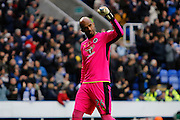 Reading's Ali Al Habsi (1) celebrates Dominic Samuel's (14) goal to make the score 1-0 to Reading during the EFL Sky Bet Championship match between Reading and Burton Albion at the Madejski Stadium, Reading, England on 19 November 2016. Photo by Richard Holmes.