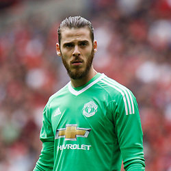 David De Gea of Manchester United during the Emirates FA Cup match between Manchester United and Tottenham Hotspur at Old Trafford on April 21, 2018 in Manchester, England. (Photo by Rob Sambles)