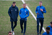 Peterborough United inspect the pitch prior to kick off for the EFL Sky Bet League 1 match between Oxford United and Peterborough United at the Kassam Stadium, Oxford, England on 16 February 2019.