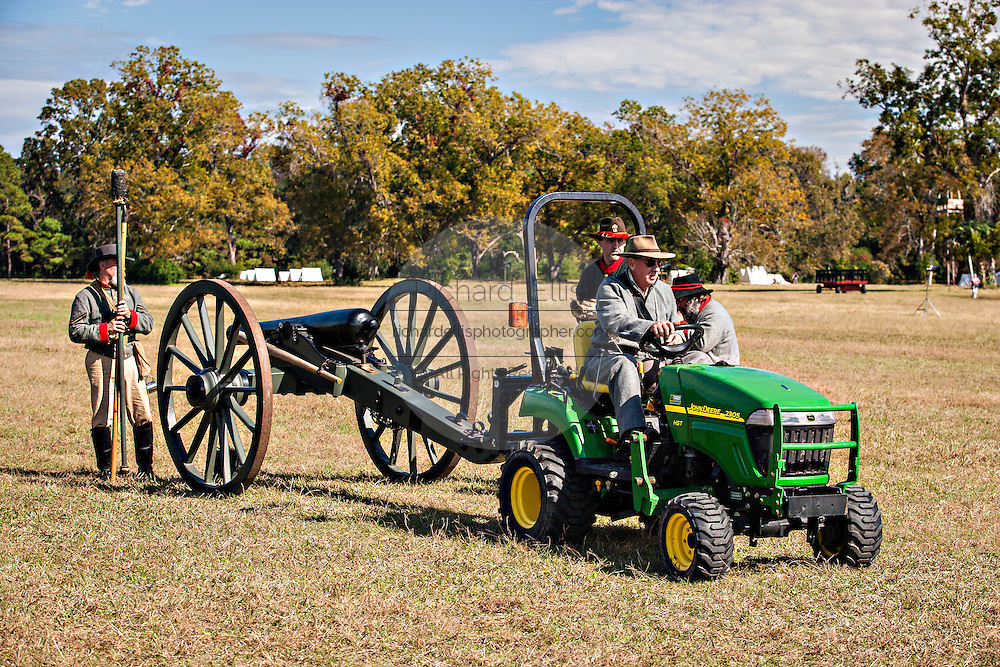 Confederate Civil War historic living history re-enactors pull a canon with a modern tractor at the Battle of Secessionville at Boone Hall Plantation November 9, 2008 in Mount Pleasant, SC.  The battle recreates the defeat of Union forces in 1862 in the only attempt to capture Charleston during the Civil War.