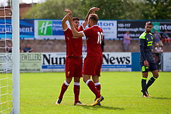 NUNEATON, ENGLAND - Sunday, July 30, 2017: Liverpool's Herbie Kane celebrates scoring his sides first goal to make the score 1-0 with Yan Dhanda during a pre-season friendly between Liverpool and PSV Eindhoven at the Liberty Way Stadium. (Pic by Paul Greenwood/Propaganda)