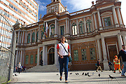 C&A Instituto volunteer, Alyne Garcia Jobim leaving a meeting at the City Hall in Porte Alegre, Brazil.