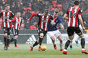George Baldock of Sheffield United (2) battles with Daryl Murphy of Nottingham Forest (9) during the EFL Sky Bet Championship match between Sheffield United and Nottingham Forest at Bramall Lane, Sheffield, England on 17 March 2018. Picture by Mick Haynes.