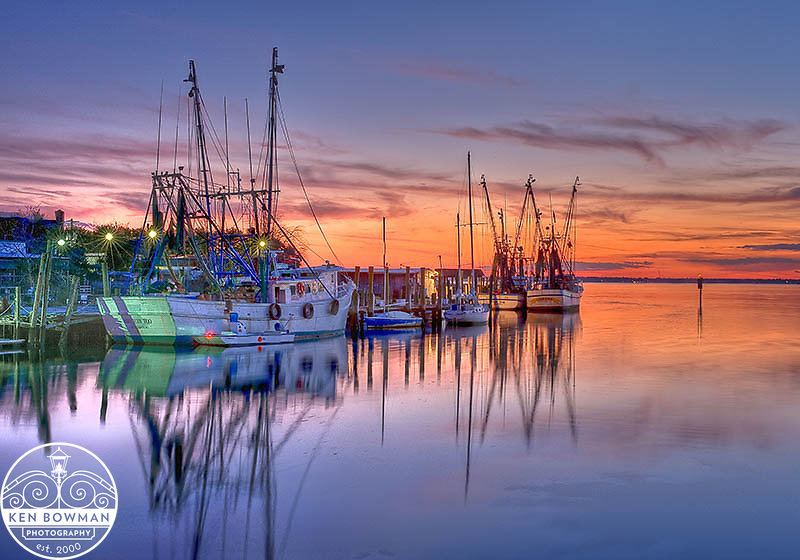 Shem Creek shrimp boats sunset 2012