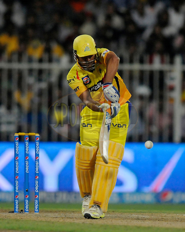 MS Dhoni captain of The Chennai Superkings bats during match 16 of the Pepsi Indian Premier League 2014 between the Delhi Daredevils and the Mumbai Indians held at the Sharjah Cricket Stadium, Sharjah, United Arab Emirates on the 27th April 2014<br /> <br /> Photo by Pal Pillai / IPL / SPORTZPICS