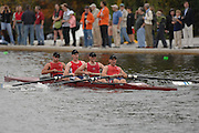 Boston, USA, Club Men's Coxed four, Agecroft RC after pasing the Eliot Bridge, competing in the Head of the Charles, Race Charles River,  Cambridge,  Massachusetts. Saturday  20/10/2007  [Mandatory Credit Peter Spurrier/Intersport Images]..... , Rowing Course; Charles River. Boston. USA