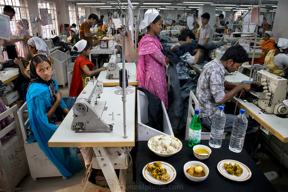 Ruma Akhter, a seamstress and one of over 6,000 employees at the Ananta Apparels company  in Dhaka, Bangladesh with her typical day's worth of food. (From the book What I Eat: Around the World in 80 Diets.) The caloric value of her day's worth of food for a typical day in December was 1800 kcals. She is 20 years of age; 5 feet tall; and 86 pounds. While nearly half of Bangladesh's population is employed in agriculture, in recent years the economic engine of Bangladesh has been its garment industry, and the country is now the world's fourth largest clothing exporter, ahead of India and the United States. Dependent on exports and fearing international sanctions, Bangladesh's garment industry has implemented rules outlawing child labor and setting standards for humane working conditions. MODEL RELEASED