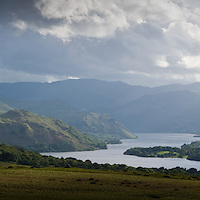 Panormaic view of Ullswater lake and surrounding mountains