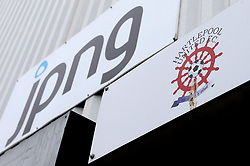 The Hartlepool United logo underneath a sign for owners JPNG - Mandatory by-line: Robbie Stephenson/JMP - 06/05/2017 - FOOTBALL - The Northern Gas and Power Stadium (Victoria Park) - Hartlepool, England - Hartlepool United v Doncaster Rovers - Sky Bet League Two