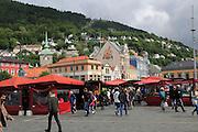 Food stalls at Vagen harbour, by Torget fish market, Bergen, Norway
