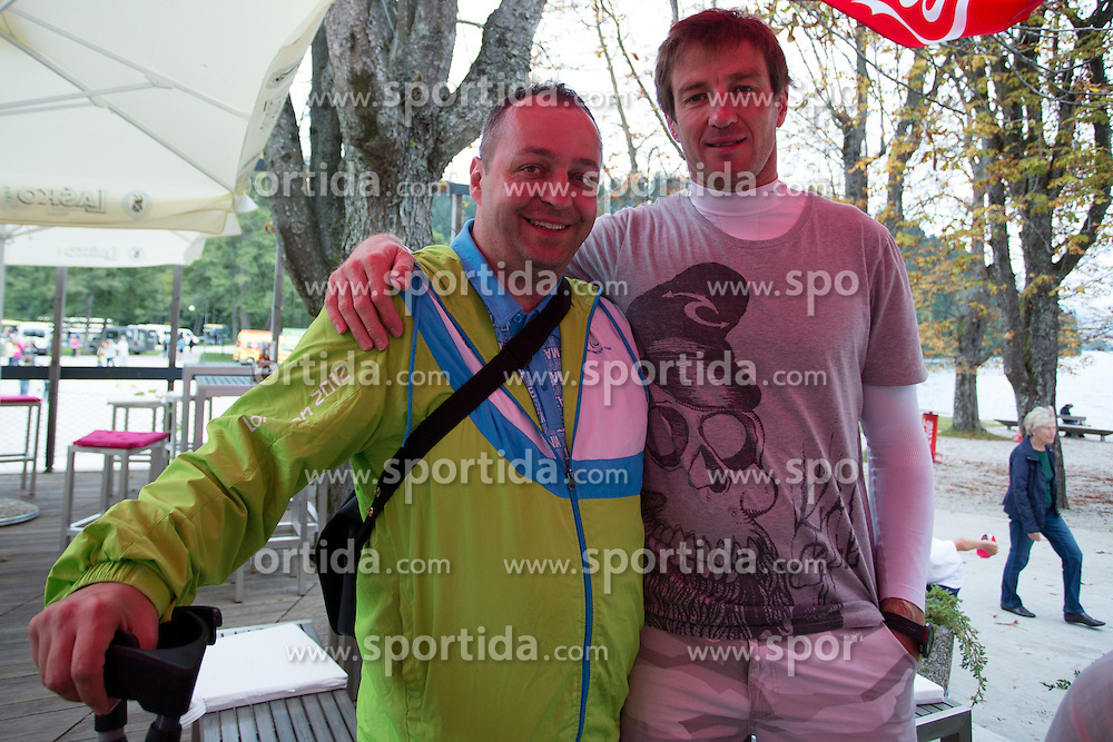Iztok Cop with Francek Gorazd Tirsek during rowing at Slovenian National Championship and farewell of Iztok Cop, on September 22, 2012 at Lake Bled, Ljubljana Slovenia. (Photo By Matic Klansek Velej / Sportida)