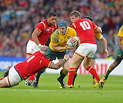 David Pocock looks to break a tackle during the Rugby World Cup Pool A match between Australia and Wales at Twickenham, Richmond, United Kingdom on 10 October 2015. Photo by Ian Muir.David Pocock looks to break a tackle during the Rugby World Cup Pool A match between Australia and Wales at Twickenham, Richmond, United Kingdom on 10 October 2015. Photo by Ian Muir.