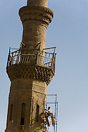 Egypt. Cairo -minaret restauration in DARB AL AHMAR  area , islamic Cairo +