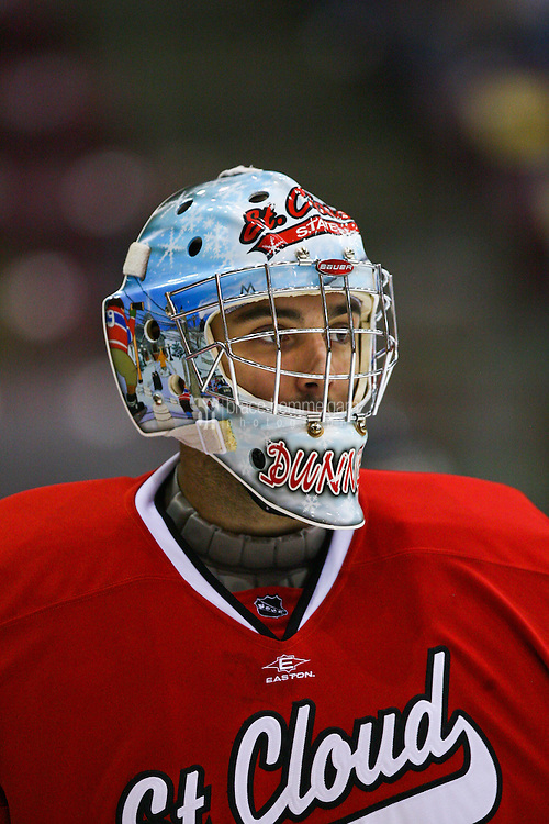 Oct 22, 2010; Minneapolis, MN, USA; St. Cloud State goalie Dan Dunn (41) prior to the St. Cloud State Huskies 5-2 victory over the Minnesota Golden Gophers. Credit: Brace Hemmelgarn