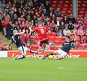 Dundee's James McPake and Julen Etxabeguren combine to deny Aberdeen&rsquo;s Adam Rooney - Aberdeen v Dundee at Pittodrie<br /> - Ladbrokes Premiership<br /> <br />  - &copy; David Young - www.davidyoungphoto.co.uk - email: davidyoungphoto@gmail.com
