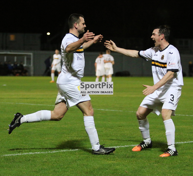 Garry Fleming celebrates with Mark Docherty during the Dumbarton v Alloa  Scottish Cup  8 December 2015 <br /> <br /> (c) Andy Scott | SportPix.org.uk