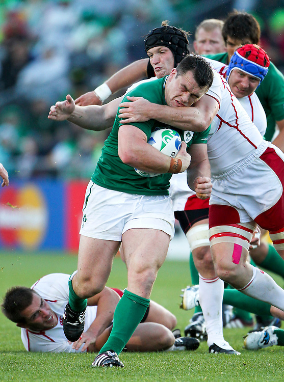Ireland's Cian Healy steps through a tackle against Russia in their Rugby World Cup pool match at Rotorua International Stadium, Rotorua, New Zealand, Sunday, September 25, 2011. Credit:SNPA / John Cowpland
