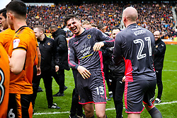 Free to use courtesy of SkyBet. Harry Burgoyne, John Ruddy and other Wolverhampton Wanderers players celebrate at the end of the game after securing automatic promotion from the Sky Bet Championship to the Premier League - Rogan/JMP - 15/04/2018 - Molineux - Wolverhampton, England - Wolverhampton Wanderers v Birmingham City - Sky Bet Championship.