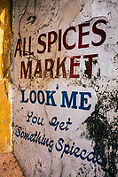 Fort Kochi, India -- February 12, 2018: A sign at an old spice market outside of Mattancherry--also known as Jew Town--in Fort Kochi.