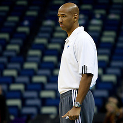 December 17, 2011; New Orleans, LA, USA; New Orleans Hornets head coach Monty Williams during a scrimmage at the New Orleans Arena.   Mandatory Credit: Derick E. Hingle-US PRESSWIRE