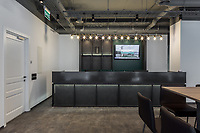 Regus office in Kyiv. Reception desk, front view.